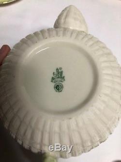 Belleek Tridacna Limpet Green Gold 22 Piece Tea Set Teapot Cup Saucers