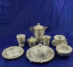 Bernardaud Limoges Bleuets Individual Breakfast in Bed Set Teapot 12 Pieces
