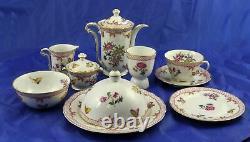 Bernardaud Limoges Compagnie des Indes Red Breakfast in Bed Set Teapot 12 Pieces