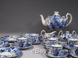 Blue Mikado Royal Crown Derby Coffee Tea Pot Set Cup Saucer Sugar Cream England