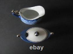 Bombay Blue & White Tile Pattern 10 Pc Set Coffee Pot Teapot Sugar Creamer Mugs