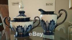 Bombay-Cobalt Blue/White Tea/Coffee Set- 12 Piece Set small chip on serving tray