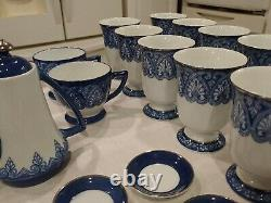 Bombay tea, coffee set. 40 piece Blue and white, trimmed in platinum