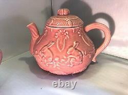 Bordallo Pinheiro Bunny Rabbit Tea Set Portugal Pottery Teapot, Sugar, Creamer