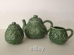 Bordallo Pinheiro Portugal Green Pottery Rabiits Teapot, Sugar Bowl, Creamer Set