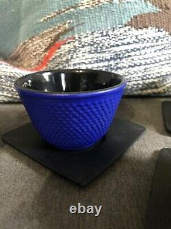 Brand new Teavana Cast Iron Tea Set Hobnail FOUR multi-colored Cups Coasters