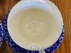 Burleigh Blue Calico 21 Piece Tea Set Teapot British Floral Cobalt Blue Pattern