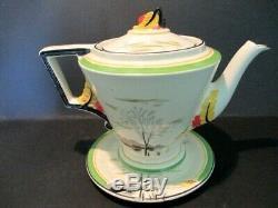 Burleigh Ware Zenith Moonbeams Tea Set Tea Pot. Art Deco / Vintage China. British