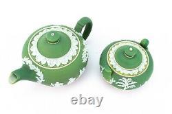 C1900 Antique Green Jasperware Tea Set Trio Wedgwood Teapot Sugar Bowl Creamer