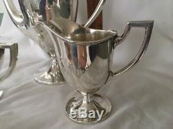 C1920 Dominic & Haff Sterling Silver Tea set 865 grams urn 3 pcs Teapot Sugar cr