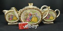 C1950 3 Piece Sadler Tea Set Barrel Shaped Courting Couples Teapot Jug Sugar