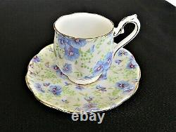 CHINTZ Blue Pansy ROYAL ALBERT 16 Pc Demi Tea Set & Teapot Staffordshire Gifts