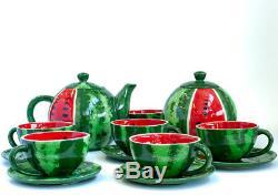 Ceramic Tea Set Six Persons Teapot Cups Saucers Sugar Bowl Handmade Watermelon