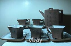 Chinese Antique Yixing Zisha Clay Pottery Teapot Tea Cup Set Calligraphy