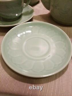 Chinese Celadon Goldfish Tea Set, 4pc Setting With Teapot, Creamer, Sugar Bowl