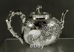 Chinese Export Silver Tea Set c1890 Wang Hing