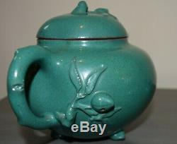 Chinese Old Vintage Green Enamel Yixing Zisha Tea Set Teapot Cup Saucer Creamer