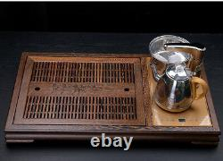 Chinese tea set Luxury Wenge tea tray solid wood table 220V induction cooker pot