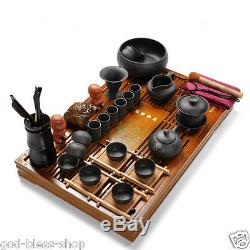 Chinese tea set kung fu tea service solid wood tea tray purple clay tea pot cups