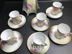 Chocolate Tea Coffee Set RS GERMANY Pink Green Mark Pot 6 Cups & Saucers