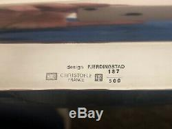 Christofle France Art Deco Christian Fjerdingstad Silver Plated Tea Pot Tray Set
