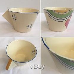 Clarice Cliff Bonjour Tea Set for Two Josefina Pattern Cups, Saucers, Teapot VGC