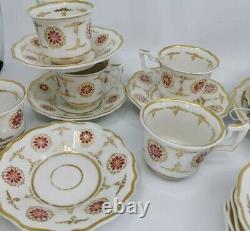 Coalport Batwing Rare Daisy Hand Painted Tea Set Teapot Teacups 25 Pc 1032 Pink