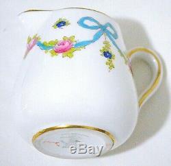 Crown Staffordshire England Blue Bow Teapot Creamer Sugar Bowl Set
