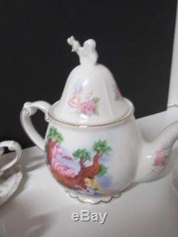 Disney Parks Alice In Wonderland Tea Set Teapot And 4 Cups And Saucers New