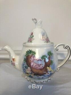 Disney Parks Alice In Wonderland Tea Set Teapot, Two Teacups, Tea Bag Holder