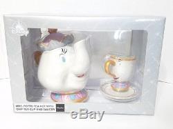 Disney Parks Mrs Potts Tea Pot with Chip Tea Cup & Saucer Set Beauty & The Beast
