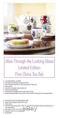 Disney Store ALICE IN WONDERLAND Through The Looking Glass LE Tea Set Cups Pot