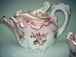 Doulton Burslem 1891-1902 Tea Set Wild Rose Teapot Sugar / Creamer Near Mint