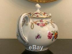 Dresden Bavaria Flowers Tea Set Teapot, Creamer and Sugar Bowl