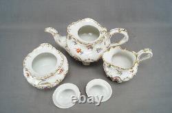 Dresden Hand Painted Floral & Gold Garlands Tea Set Trio Teapot Creamer & Sugar