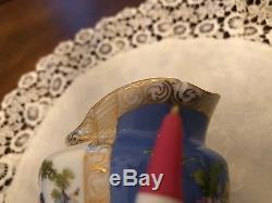 Dresden Karl Rkchard Klemm Blue Quatrefoil Teapot set