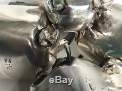 EPNS A1 SHEFFIELD ENGLISH Silver Tea Set EDWARDIAN DECO Ebony Trim Teapot COFFEE