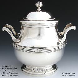 Elegant Antique French Sterling Silver 2pc Coffee or Tea Pot & Sugar Set, PAIR