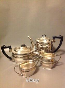 Elkington English Silver Plate Art Deco Tea & Coffee Set 4 Pc Sheffield Teapot