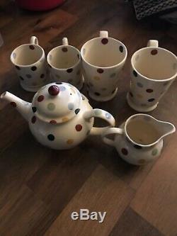 Emma Bridgewater Tea set polka dot, teapot, mugs, jug & hot choc mugs