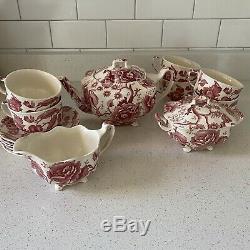 English Chippendale Johnson Bros Red Pink Floral Tea Set Teapot Creamer Sugar