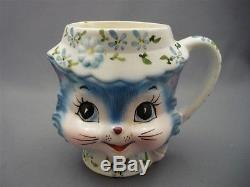 Enterprise Japan Blue Cat Figural Tea Pot Teapot 4 Cup Flower Lid & Cup Mug