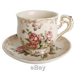 European Red Rose Tea Set, Teapot Set -15 pcs Includes Cup and Saucer, Creamer