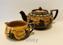 Extremely Rare Antique Royal Doulton Witches Cauldron Tea Pot and Creamer Set