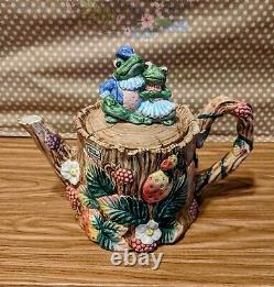 FF Fitz And Floyd 1991 Frog and Strawberry Tea set teapot teacups with saucer
