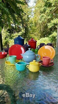FIESTA CHILDS tea set TEA POT periwinkle CREAM & SUGAR turquoise sunflower 9 pc