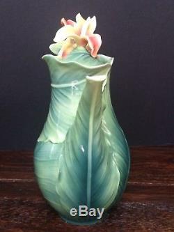FRANZ Porcelain Brilliant Blooms Canna Lily Sculptured Flower Teapot FZ01816