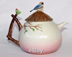 FRANZ Porcelain Teapot Applied 3D Blue Birds Tree Branch LI FANG JAMES TSAI ART