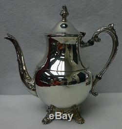 F B ROGERS Silverplate TEA SET 23 Footed Waiter Tray Coffee Pot Teapot Cr/Su