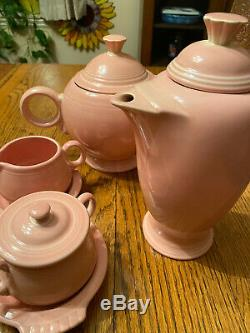 Fiesta Pink Rose Coffee pot plus Teapot Set Sugar Creamer with Underplate